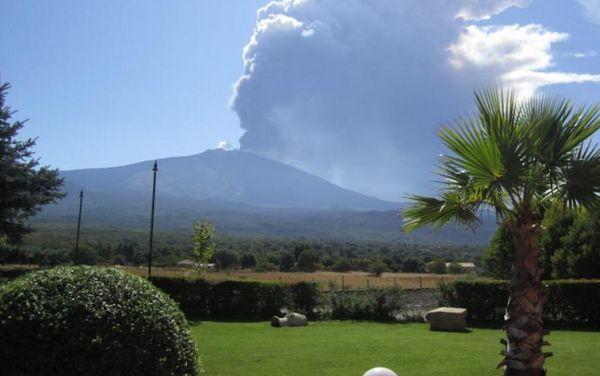 Looking at Etna over lunch at La Fucina di Vulcano, Bronte