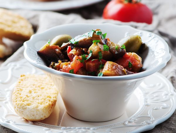 Caponata with eggplant and tomato